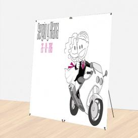Photocall Boda Novios Moto Rosa