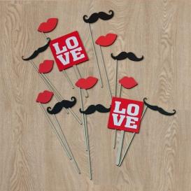 Palillos Besos , Bigotes y Love (14 piezas)