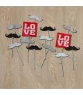 Palillos Bigotes y Love (14 piezas)