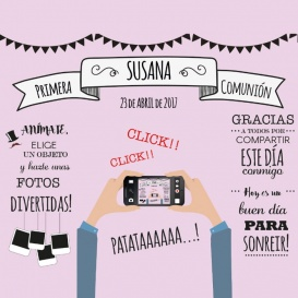 Photocall Comunión Diversión Rosa